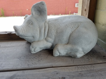 View of the Little White PIg on the patio of Stonewall's BBQ & Catering in Picayune, Mississippi