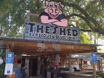 The entrance to The Shed Barbeque & Blues Joint in Ocean Springs, MS
