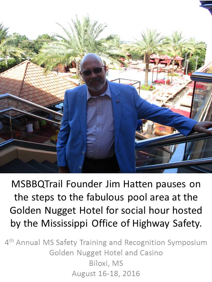 Photo of Jim Hatten on the steps to the pool area of the Golden Nugget Hotel and Casino during MSSTARS in Biloxi, MS August 16, 2016.